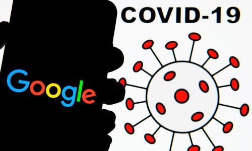 Illustration of Google search and COVID-19 virus, illustration.